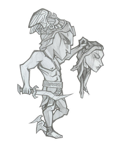Perseus and Medusa - Pencil by LeftHandedMutant