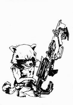 Rocket Raccoon ink