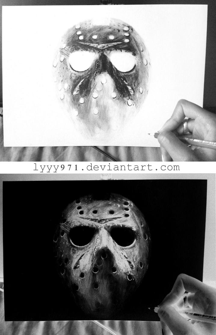 Jason (Friday the 13th) - Negative drawing by lyyy971 on ... Jason Friday The 13th Drawings