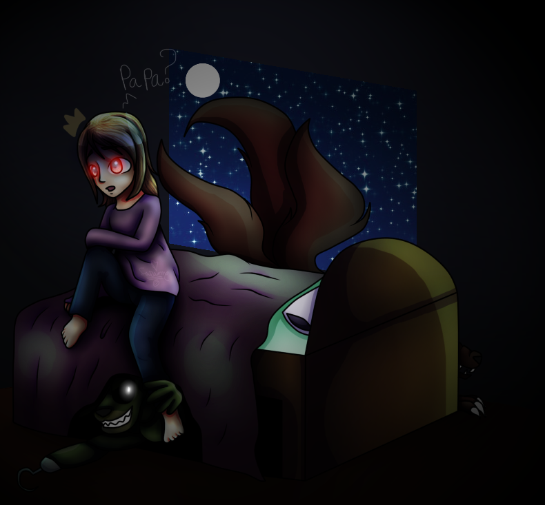 The Monsters Under My Bed - Child YOHIOloid AU Art by Fire-Blast-Scotland