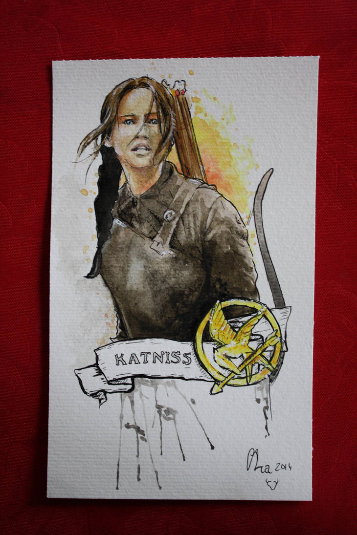 Katniss - watercolors by Red-Cha