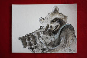 Rocket Raccoon - watercolors by Red-Cha