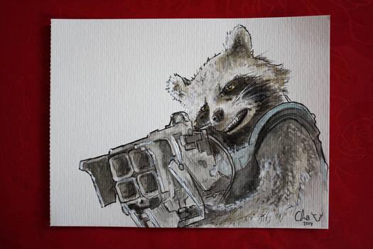 Rocket Raccoon - watercolors
