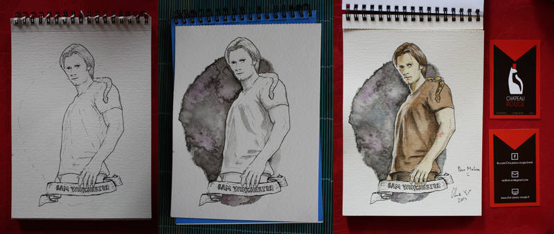 Sam Winchester - watercolors - step by step