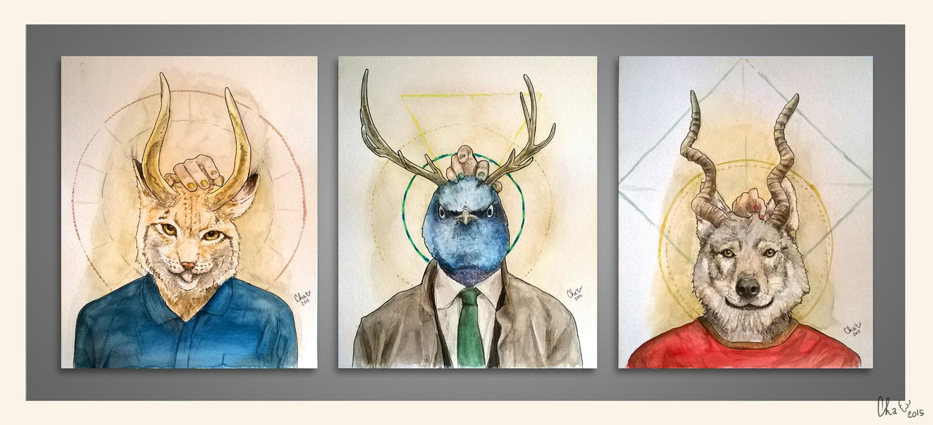 Bestial triptych - watercolors by Red-Cha