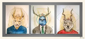 Bestial triptych - watercolors