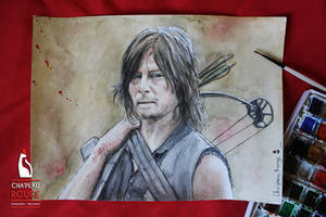Daryl Dixon - watercolors fanart - Commission by Red-Cha