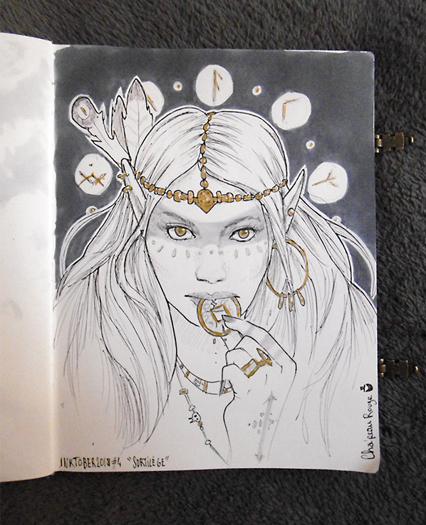 INKTOBER CHALLENGE 2018 - Day 4 : Spell, Sortilege by Red-Cha
