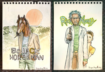 Bojack Horseman + Rick and Morty Watercolor Fanart