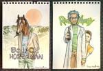 Bojack Horseman + Rick and Morty Watercolor Fanart