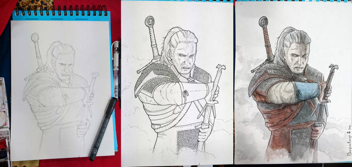 The Witcher - Geralt de Riv - Watercolors