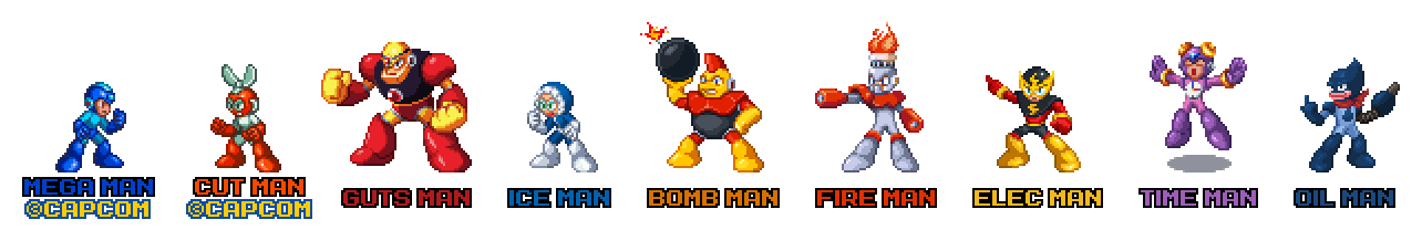 Mega Man Robot Masters in Mega Man 8 Style