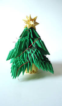 Origami 3D Christmas tree, with Christmas star
