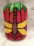 Stained Glass Dragonfly Jar