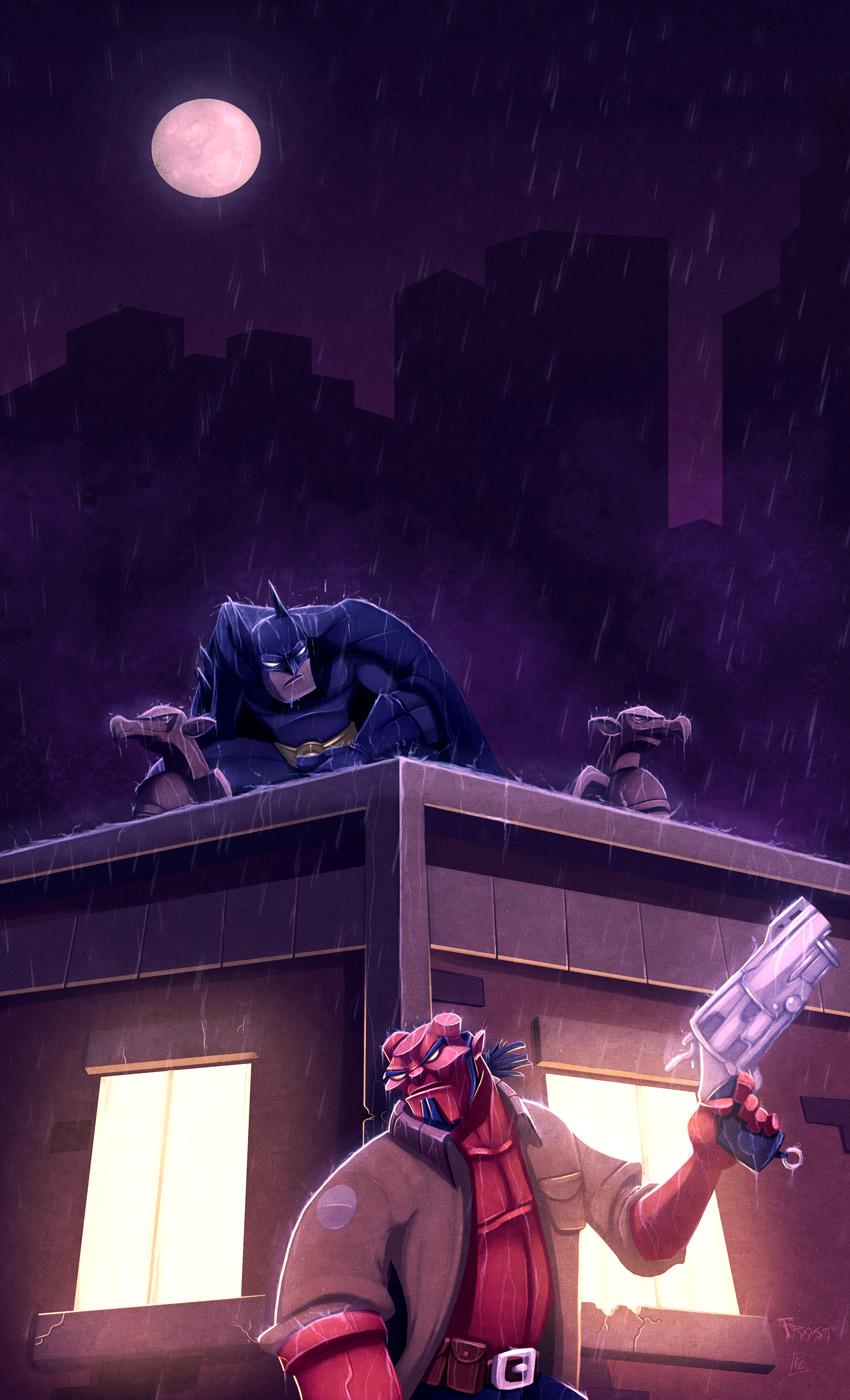 Hellboy Comes to Gotham by KendrickTu