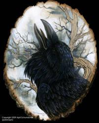 Raven portrait on basswood