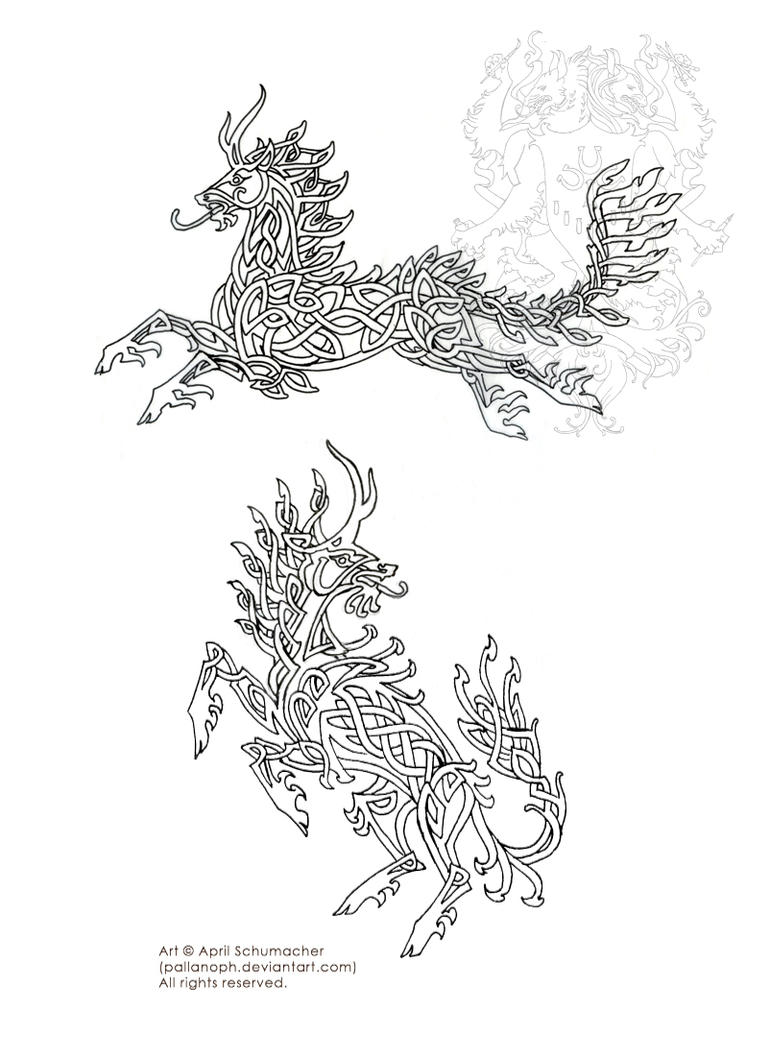 Celtic Kirin Tattoo Sketches by pallanoph