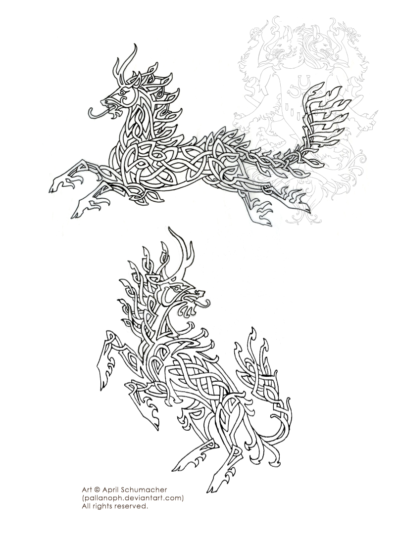 Celtic Kirin Tattoo Sketches by pallanoph