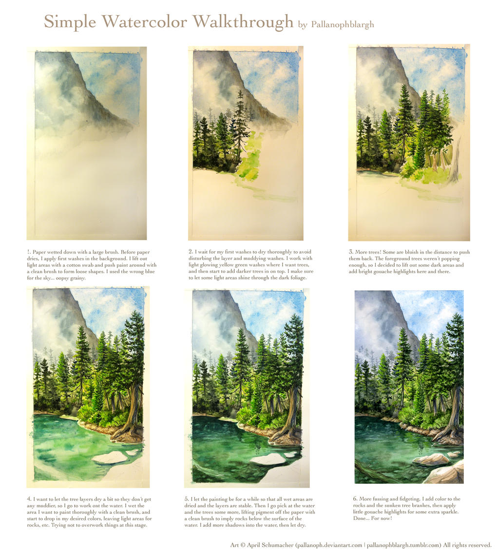 A simple watercolor walkthrough landscape by pallanoph on for Watercolor tutorials step by step