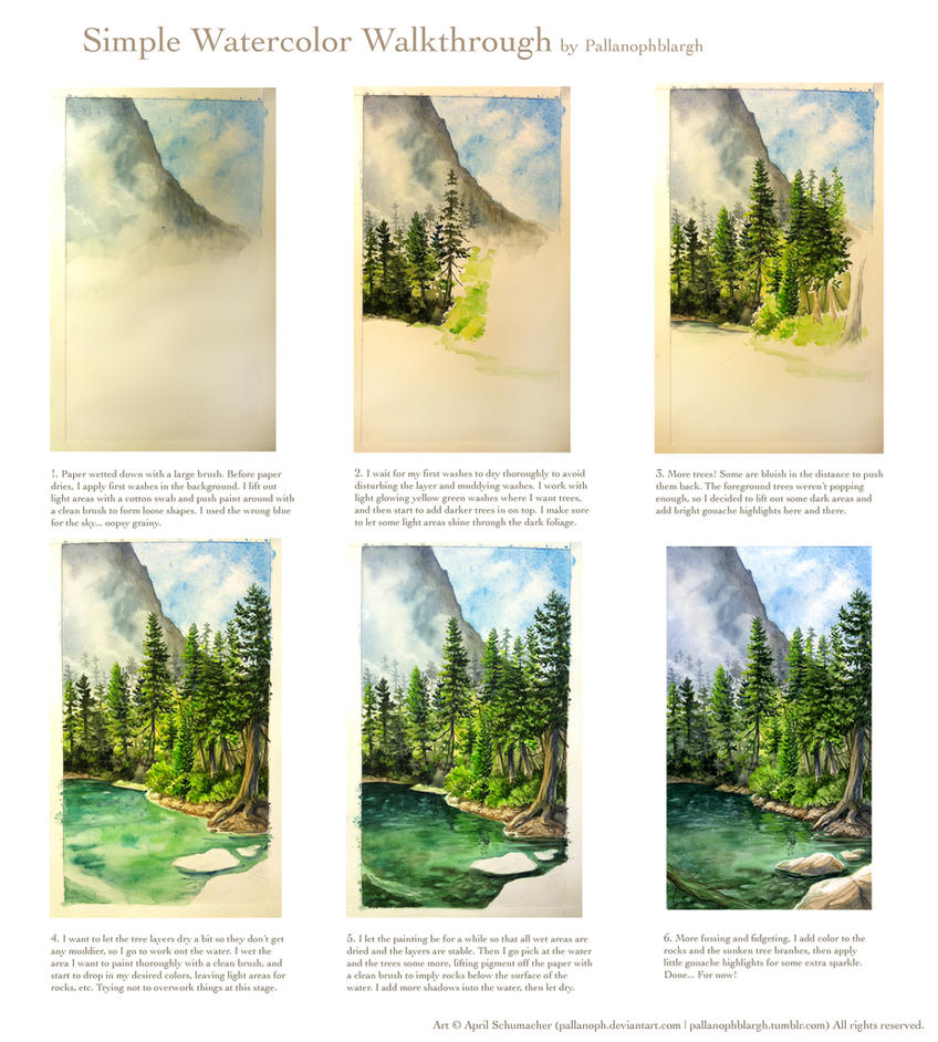 A Simple Watercolor Walkthrough Landscape By Pallanoph