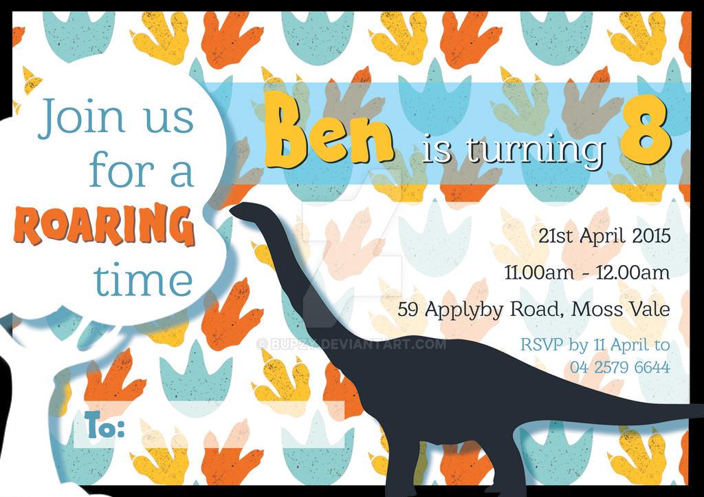 Dinosaur Birthday Invitation by Bupzy