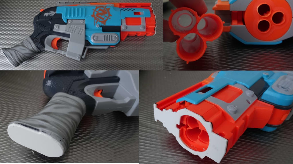 Nerf gun Sledgefire sawn-off, apocalypse style WIP by Gruntoks