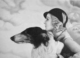 Lady and her barzoi by cloudmilk