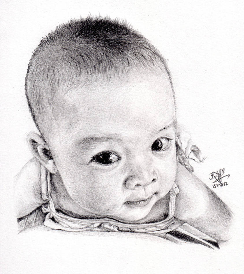 Pencil sketch of my cute baby daughter by chaseroflight