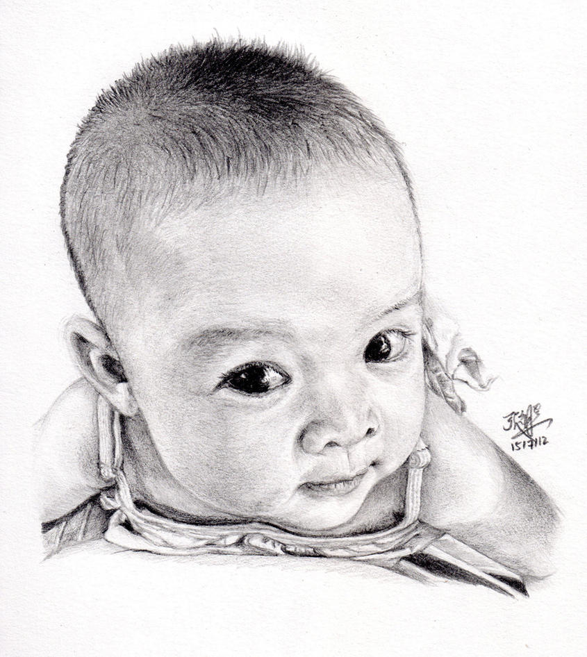 Pencil sketch of my cute baby daughter by chaseroflight on DeviantArt