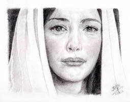 Pencil portrait of Arwen in Lord of the Rings by chaseroflight