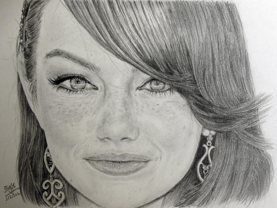Pencil portrait of emma stone by chaseroflight