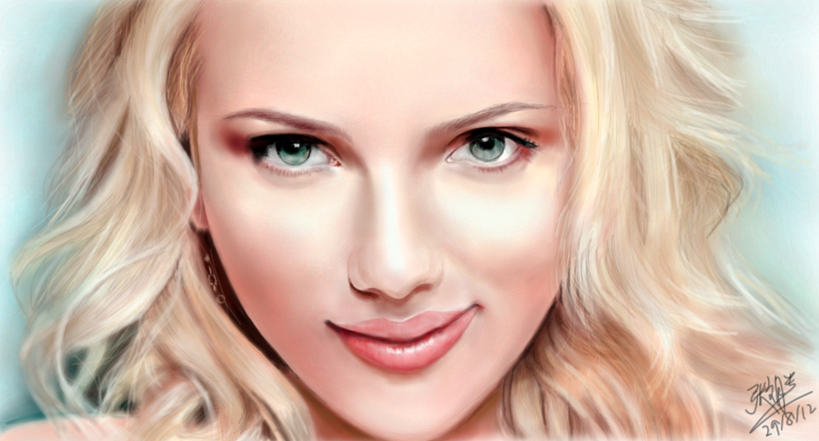 iPad FINGER painting: Scarlett Johansson by chaseroflight