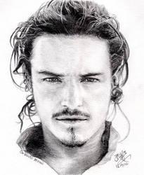 Pencil portrait of Orlando Bloom