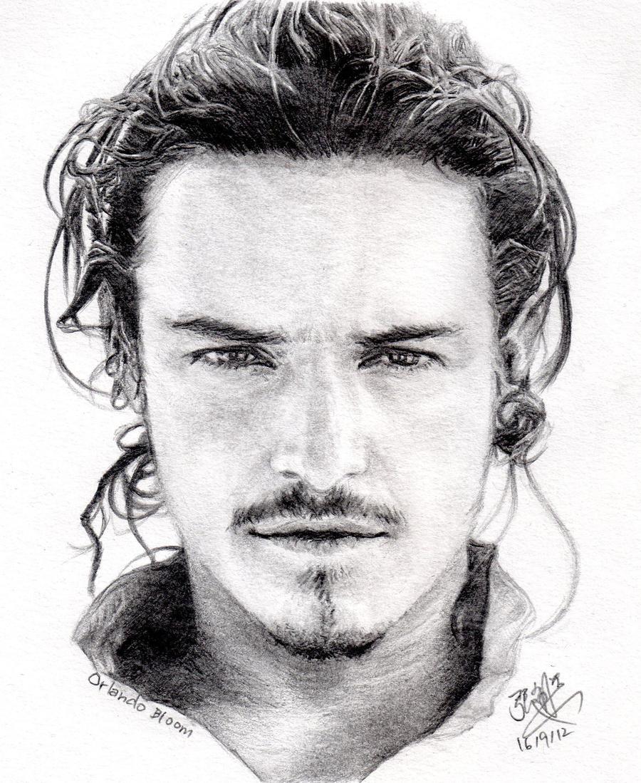 Pencil portrait of Orlando Bloom by chaseroflight