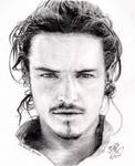 Pencil portrait of Orlando Bloom by chaseroflight