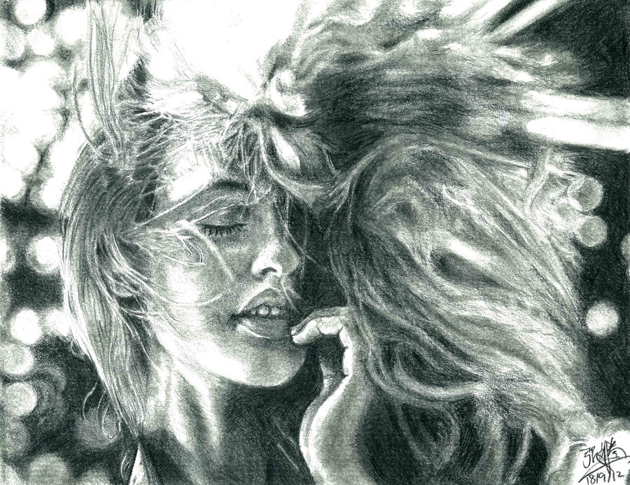 Pencil portrait of a pretty girl with hair blown