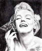 Pencil portrait of Marilyn Monroe by chaseroflight