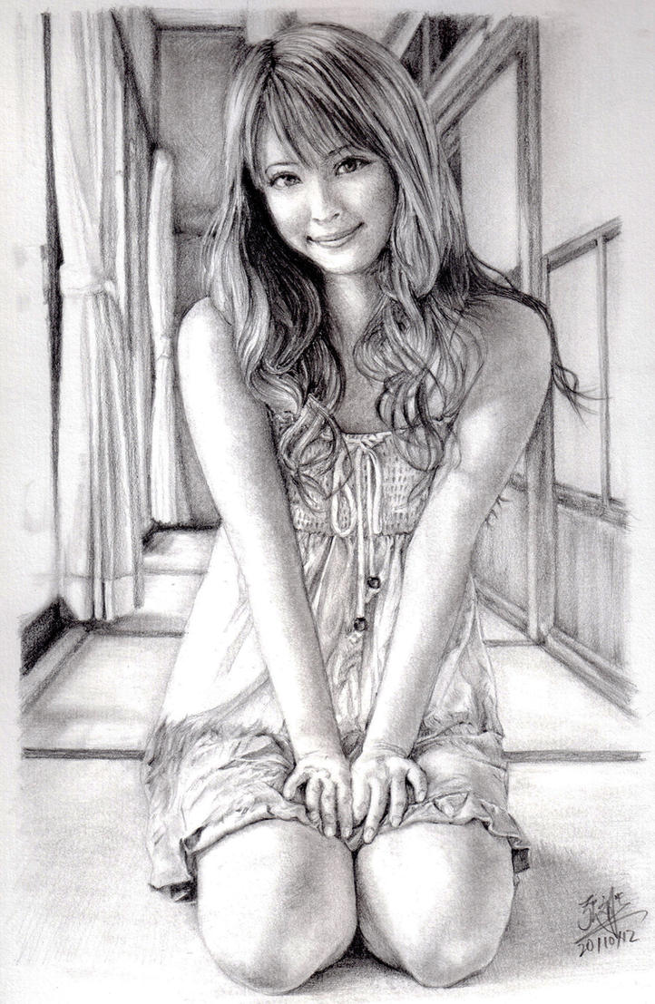 Pencil portrait of Japanese model by chaseroflight