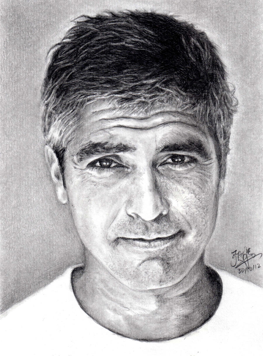 Pencil Portrait of George Clooney by chaseroflight on ...