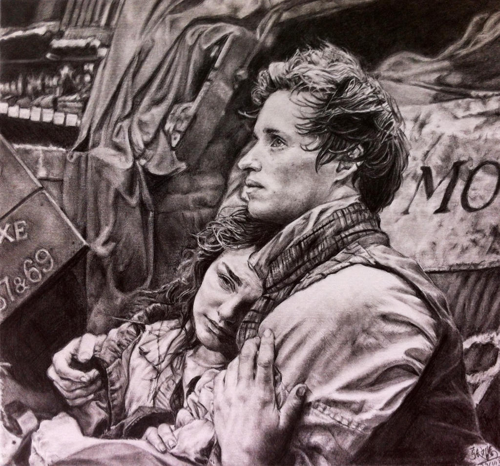 Pencil portrait of scene fr Les Miserables by ~chaseroflight