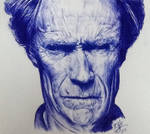 Ballpoint pen drawing of Clint Eastwood