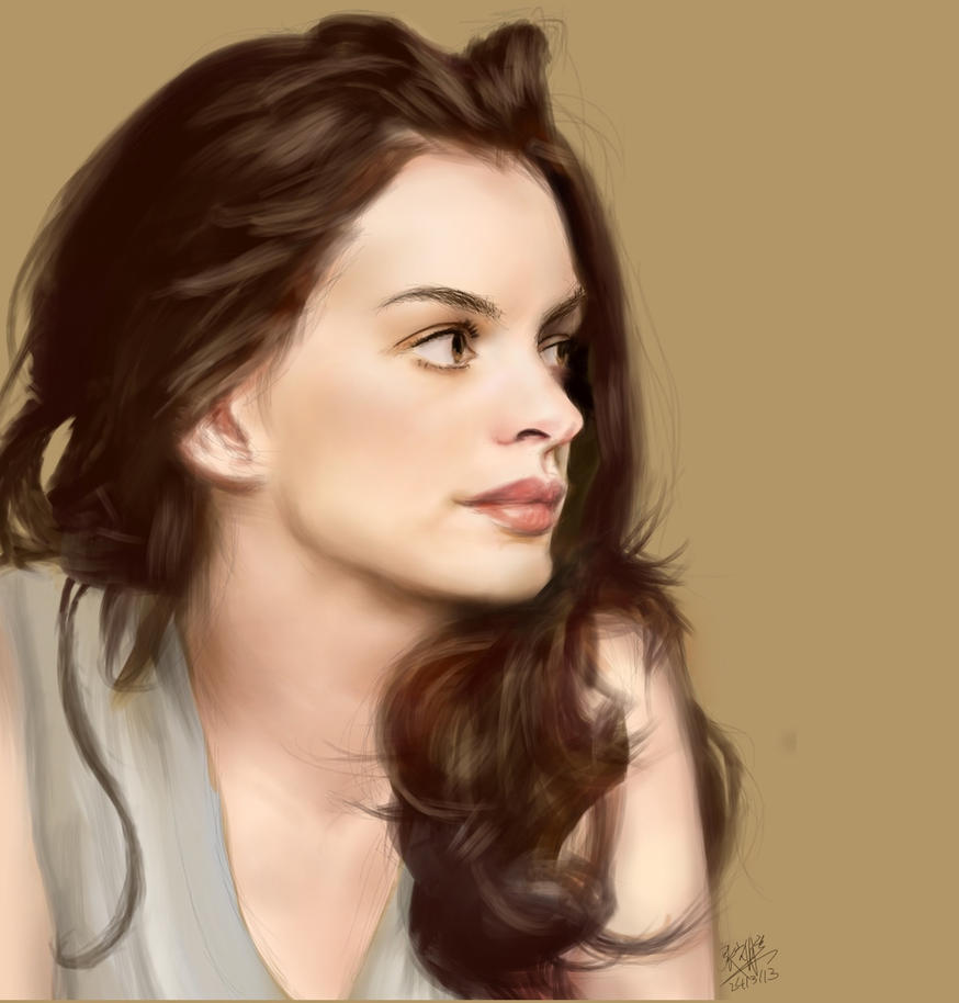 Anne Hathaway Drawing: IPad Finger Painting Of Anne Hathaway By Chaseroflight On