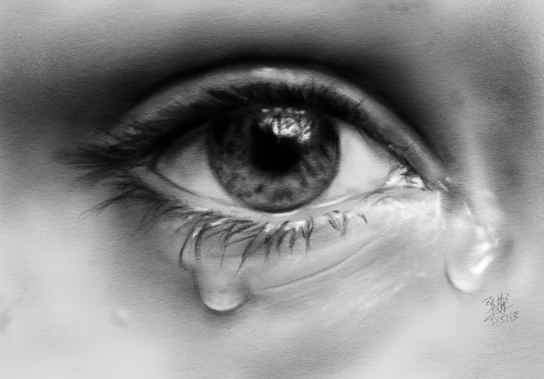 how to draw a realistic teary eye