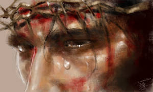 The look of Jesus. iPad finger painting. by chaseroflight