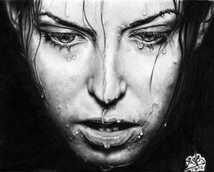 Pencil drawing of a girl with wet face