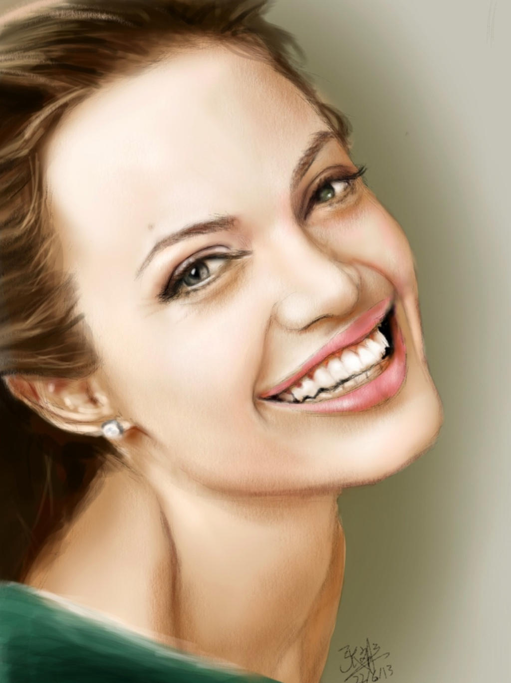 Ipad Finger Painting Of Angelina Jolie By Chaseroflight