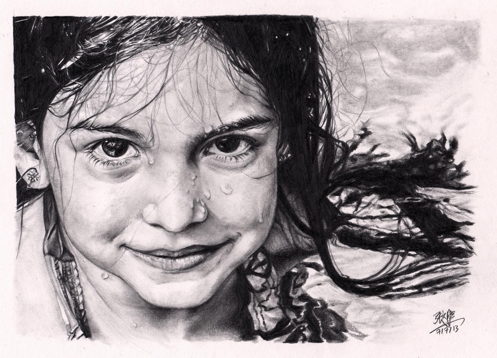 Little girl with wet face (pencil drawing)