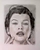 Pencil portrait of Milla Jovovich by chaseroflight