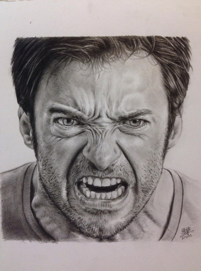Pencil drawing of a Hugh Jackman by chaseroflight
