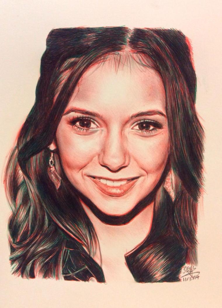 BIC ballpoint pen drawing of Nina Dobrev by chaseroflight